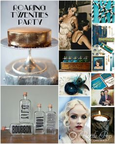 Gold, turquoise, emerald, peacock feathers, black/white stripes, pearls, bold retro text, candlelight, fringe