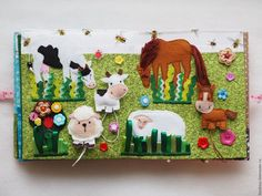 Quiet Book: Farm animals and field.