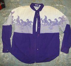 $16.00 Vintage-1993-Womens-Western-Shirt-Side-Saddle-HORSES-border-Purple-women-L