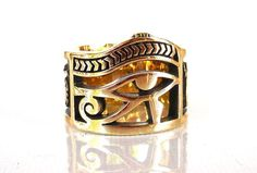 Brass eye of Horus ring All Size Style Heavy Biker Harley Rocker Men's Jewelry (BR-019)