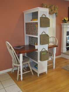 Two person desk. Bookcase, repurposed coffee table top and table legs from home…
