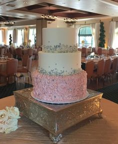 Blush pink and silver wedding cake