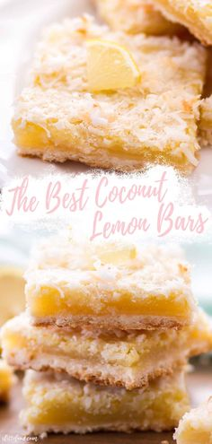These easy Coconut Lemon Bars are made from scratch! They begin with a shortbread crust and is topped with a creamy lemon custard that's tangy and sweet! Coconut gives these classic lemon bars a summer dessert twist! Citrus Recipes, Lemon Dessert Recipes, Easy Baking Recipes, Sweet Recipes, Bar Recipes, Lime Desserts, Coconut Desserts, Coconut Recipes, Plated Desserts