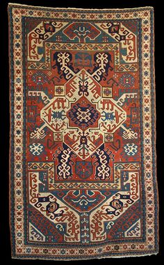 "Antique Karabagh ""Kasim Ushag"" rug, late 19th century, Elisabethpol Governorate (Елизаветпольская губерния), Zangezur Uyezd, (Lachin District), Kasim Ushak Oba."