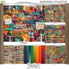 Cozy sweaters, leaves changing. Autum is upon us and it is wonderfall! Capture your most precious autumn memories with this lush digital scrapbook collection. 	 	Kit: 20 patterned papers, 10 coordinating solids and 1 full alpha, 4 accordions, 10 brads, 4 burst...