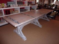 Beautiful Plank Top Triple X Base #Belgian Inspired #Dining Table  Inset Banding. Made to order. Can be done in any size.