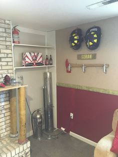 Beautiful Firefighter Home Decor 93 With Additional Home Decoration For Interior Design Styles with Firefighter Bar, Firefighter Bedroom, Firefighter Home Decor, Volunteer Firefighter, Fireman Room, Shabby, Layout, Home Projects, Man Cave