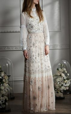 Embellished Bib Gown  by NEEDLE & THREAD for Preorder on Moda Operandi