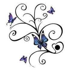 Schmetterling auf blaue Blume Tattoo