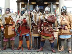 "Wulfheodenas at the festival; 6-7thC Anglian (Anglo-Saxon) and Svear (Swedish) warriors. They are all wearing the ""warrior coat"". Wulfheodenas on Facebook."