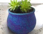 Clay Planter Indoor Winter Gardening Garden Terrarium Plant Pot Velvet Purple Cup Bowl for succulents little plants