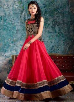 Pink Embroidery Zari Work Net Indo Western Long Anarkali Gown Designer Suit http://www.angelnx.com/Salwar-Kameez/Anarkali-Suits