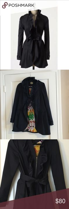 Anthropologie trench coat Size 4. Worn a few times. Great condition. Very cute! Dark navy color with wonderful print on inside! Fun ruffled collar. Zip front with pockets and waist belt that can be tied in back or used to cinch and bow at waist. Use offer button! I have more pictures if requested! Anthropologie Jackets & Coats