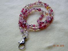 "Lanyard.Badge holder.ID holder.Sparkling pink crystal beads ID holder.36"" badge holder that looks like a necklace.Boss gift.Coworker gift. by SantaFeCollection on Etsy"