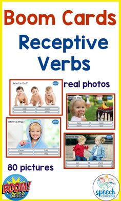 Real photos!  I love using real photos in therapy. They are so versatile and can be used to target a wide variety of goals.   Children relate to situations which are familiar to them.  These packs explore the understanding of verbs.  The child is asked to identify the verb from a choice of four.   There are four packs of 20 pictures to provide great variety.   The four packs can be purchased individually. Receptive Language, Speech And Language, Phonemic Awareness, Therapy Ideas, Learn To Read, Special Education, Literacy, Preschool, Target