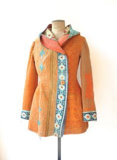 Kantha quilt jacket. Hooded, fuzzy, reversible kantha coat - size medium. Handmade from recycled and fairly made materials.