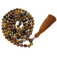8mm Wooden Agate 108 Full Buddhist Malas, Mala Necklace, Knotted Gemstone Mala Beads for Prayer Meditation Yoga with tassel & free mala bag. $58.89, via Etsy.