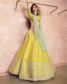 Brand new Anushree Reddy 2019 Bridal Lehengas are here. Whether you are a fan of her style or not, you are going to love her latest designs. Indian Bridal Outfits, Indian Bridal Lehenga, Indian Gowns, Indian Designer Outfits, Indian Attire, Pakistani Bridal, Pakistani Suits, Pakistani Dresses, Indian Wear