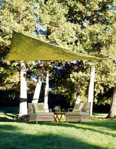 DIY Sail Shade, for the side yard.