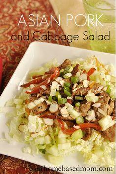 Asian Pork and Cabbage Salad @yourhomebasedmom.com  #pork, #recipes
