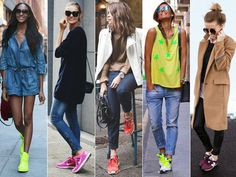 Street Style Spotlight: 15 Ways To Sport Sneakers  Outfit for sightseeing in NYC. Summer sightseeing NYC. Sneakers with sightseeing outfit. Sneakers and dress.