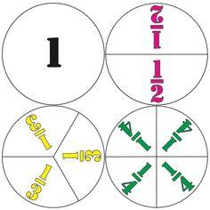 Elementary School Math Fraction Circles Unit Halves Thirds Fourths