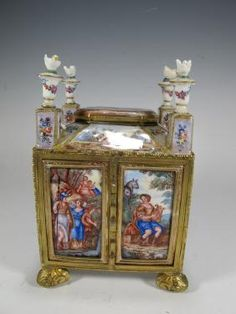 Rare Antique Viennese Bronze Enamel Miniature Chest