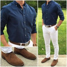 Time to break out the white pants❗️ I love the contrast of the dark navy shirt against the white pants. Formal Men Outfit, Formal Dress, Casual Wear, Moda Formal, Style Masculin, Look Man, Herren Outfit, Business Casual Outfits, White Pants
