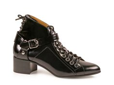 Balenciaga black Luxury leather lace-up ankle boots