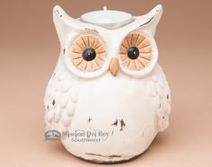 """Rustic owl candle holder with distressed look for western, southwest or country style. Measures 4.5"""""""" tall."""