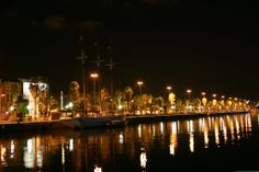 Barcelona on a dark night...orange lights and palm trees reflected in dark water.