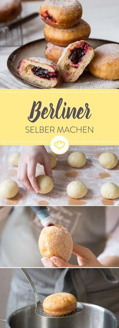 Delicious Berlin bales - from baking to Leckere Berliner Ballen – Vom Ausbacken bis zum Füllen Donuts? Or pancakes? No matter what you call them – from now on you can easily bake the delicious bales yourself. Coconut Dessert, Oreo Dessert, Dessert Food, Brownie Desserts, Mini Desserts, Baking Recipes, Cake Recipes, Dessert Recipes, Food Cakes
