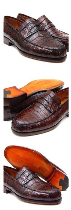 Paul Parkman Men's Brown Genuine Crocodile Penny Loafers (ID Pump Shoes, Men's Shoes, Shoe Boots, Dress Shoes, Men Dress, Pumps, Penny Loafers, Loafers Men, Italian Leather Shoes