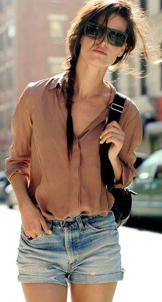 cutoffs + slouchy blouse looks so comfortable love love love