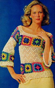 Granny Square e Filet Crochet Verão blusa com mangas 3/4 comprimento Boho Vintage Crochet Pattern PDF