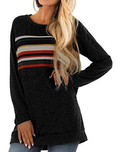 Sundray Women's Loose Casual Pullover Long Sleeve Tunic Color Printing Sweatshirt Tops Long Sleeve Tunic, Long Sleeve Tops, Cute Fall Outfits, Matching Family Outfits, Loose Tops, Printed Sweatshirts, Look Fashion, Winter Fashion, Fashion Outfits