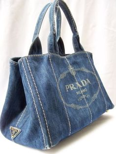 (via Pinterest)   Karen Haskett • 1 day ago PRADA DENIM BLUE SIGNATURE DOUBLE HANDLE PURSE TOTE   found on ebay