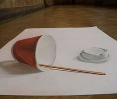 Illusion: An anamorphic drawing by Pete Henderson. http://illusion.scene360.com/news-community/coffee-cup/