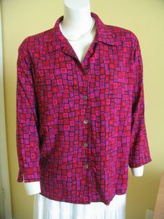 CAROL LITTLE Blouse Shirt Tunic Long Sleeves Multi Color Squares Rayon Size L #CaroleLittleSport #Blouse #Versatile