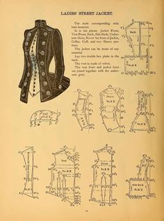 FB Patrician Designs-Victorian Dresses and Re-enactment Clothes If you can decipher them to your size, here's a blog with multiple original pattern pages. http://sewinginwalden.blogspot.com.es/2013/06/ladies-street-jacket-1888.html