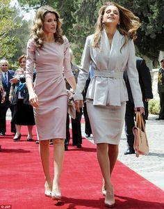 Princess Letizia of Spain, left, and Queen Rania of Jordan meet in Amman (2011 event)