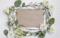 Download wallpapers chrysanthemums, eustoma, paper frame, spring, spring flowers, flower frame