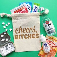Cheers bitches oh shit kit Hangover Kit Bachelorette Bachelorette Party Favors, Bachelorette Weekend, Wedding Party Favors, Bachelorette Survival Kits, Wedding Decorations, Girls Weekend Gifts, Gifts For Girls, Bacardi, Hangover Kit Bags