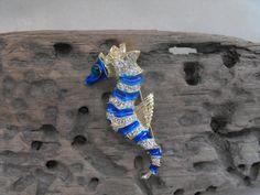 Gorgeous Rare enamelled sea horse signed Patti Boulaye