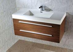 MILO Wall Hung Walnut Basin Vanity Unit - 1000mm