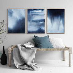 Indigo Blue Art Print Abstract Watercolor Art Abstract Art