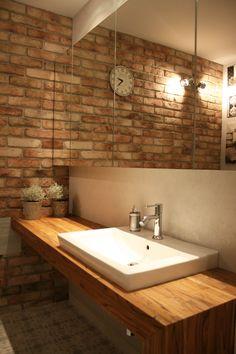 Bathroom, bricks, teak, mirror