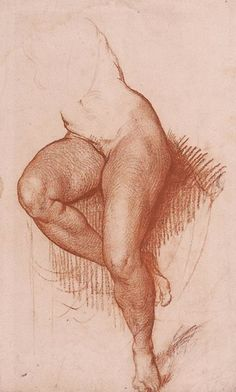 Eighteenth-century French academy female legs anatomy study drawing.