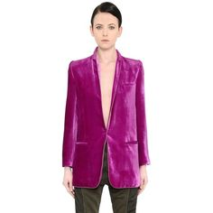 Haider Ackermann Women Velvet Long Blazer (230.465 RUB) ❤ liked on Polyvore featuring outerwear, jackets, blazers, fuchsia, velvet shawl, shawl jacket, purple blazer, fuchsia blazer and long blazer jacket