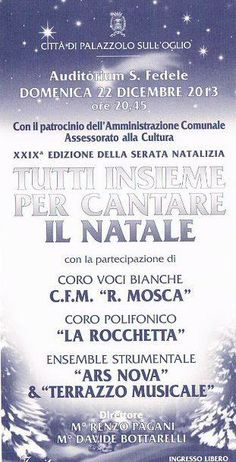 Tutti insieme per cantare il Natale - Auditorium S. Fedele #Palazzolo s/O